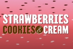 Strawberry ice cream, crushed Oreo cookies, cream and fresh strawberries.